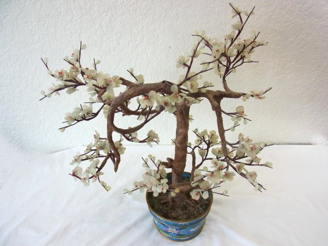 Vintage Chinese Jade Dogwood Bonsai Tree within Blue Cl - 2