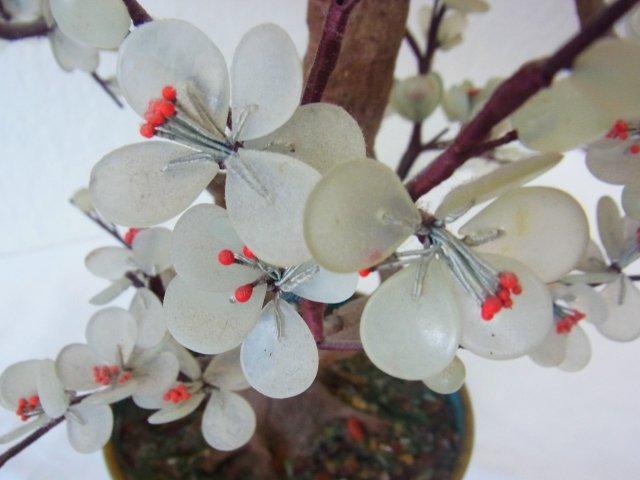 Vintage Chinese Jade Dogwood Bonsai Tree within Blue Cl - 3