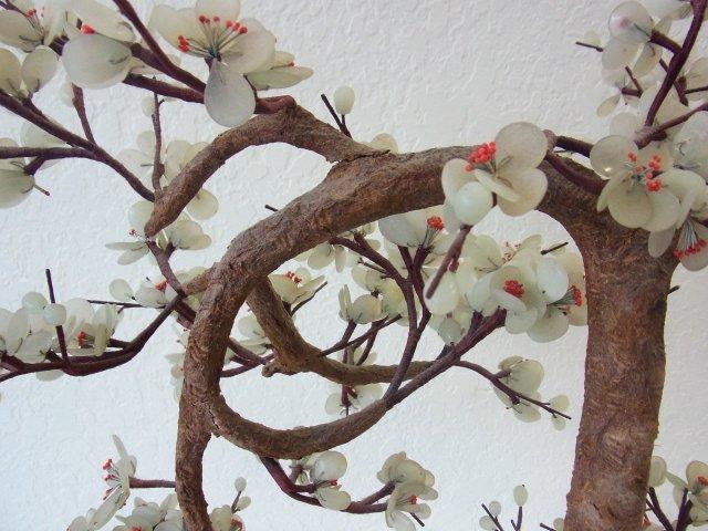Vintage Chinese Jade Dogwood Bonsai Tree within Blue Cl - 4