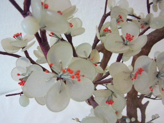 Vintage Chinese Jade Dogwood Bonsai Tree within Blue Cl - 9