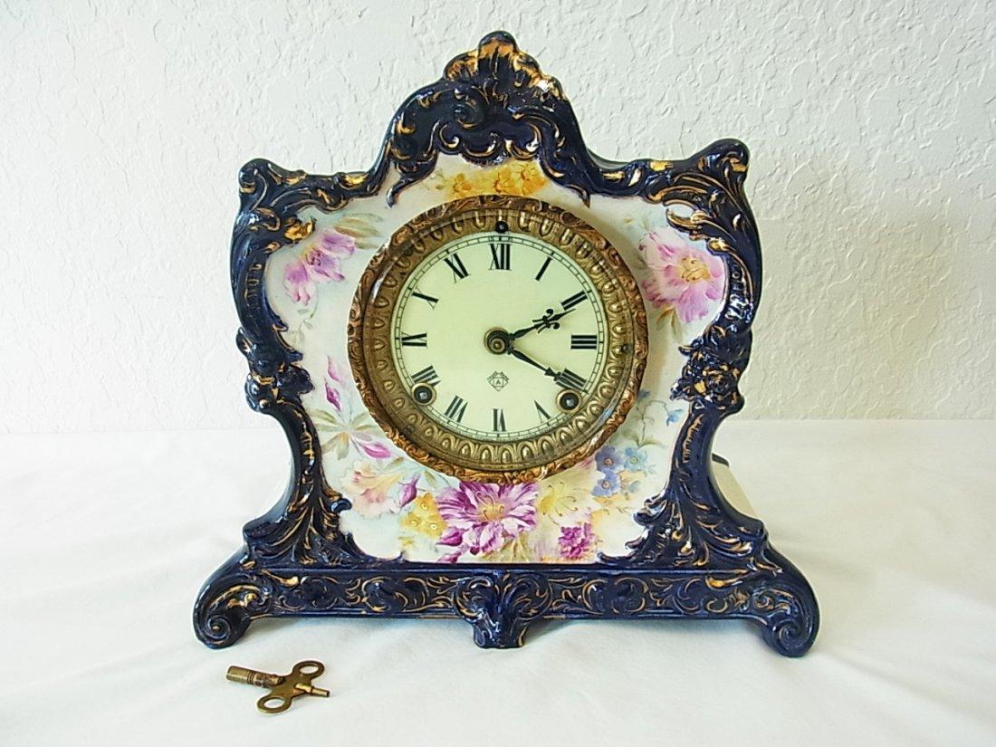 Antique Ansonia Royal Bonn Cobalt Glazed Porcelain Body