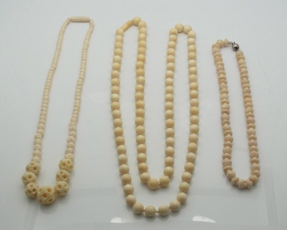 3 Antique Carved Ivory Bead Necklaces Polished Puzzle B