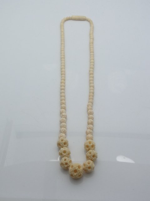 3 Antique Carved Ivory Bead Necklaces Polished Puzzle B - 2