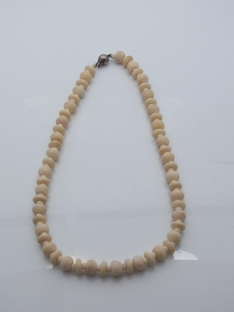 3 Antique Carved Ivory Bead Necklaces Polished Puzzle B - 3