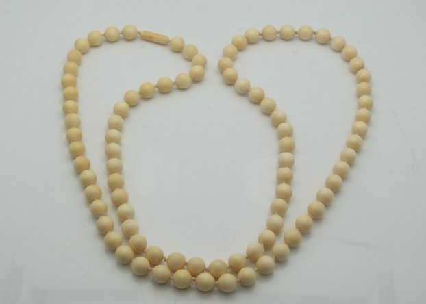 3 Antique Carved Ivory Bead Necklaces Polished Puzzle B - 4