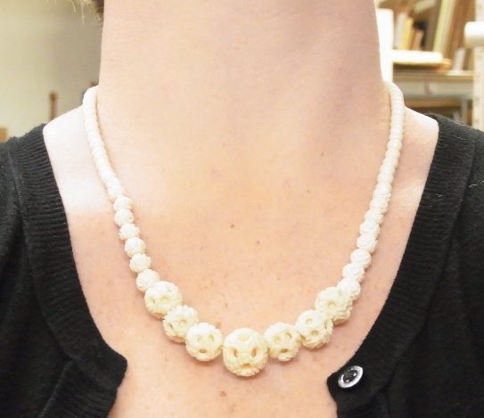3 Antique Carved Ivory Bead Necklaces Polished Puzzle B - 5