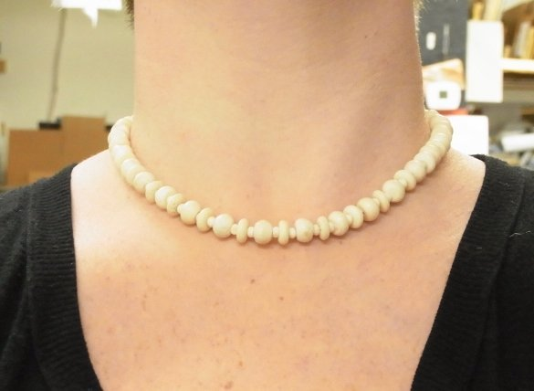 3 Antique Carved Ivory Bead Necklaces Polished Puzzle B - 7