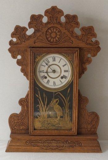 Victorian c 1875 Oak Gingerbread Handmade Mantle Clock