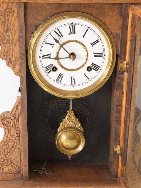Victorian c 1875 Oak Gingerbread Handmade Mantle Clock - 2