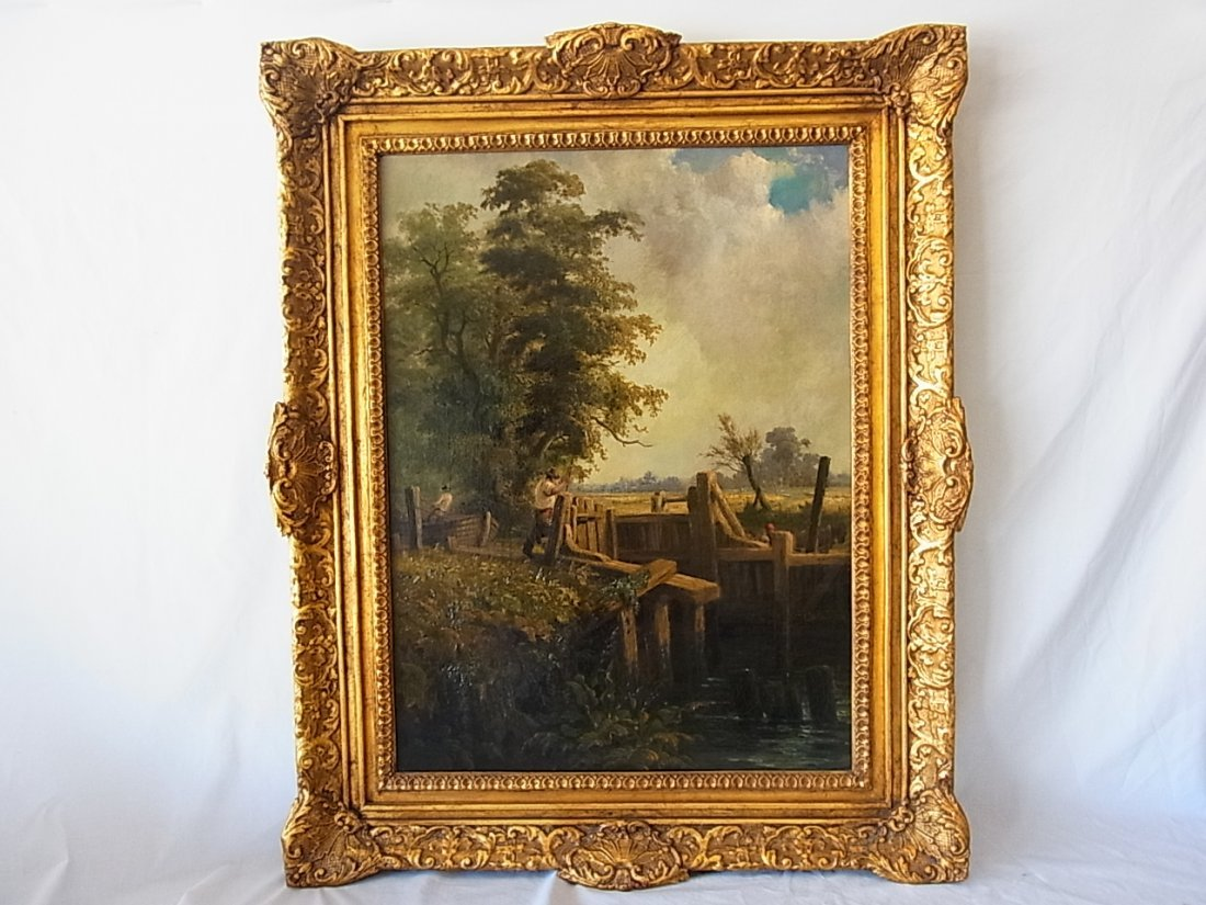Signed J. Constable 1837 Deham Lock Oil Painting Accomp