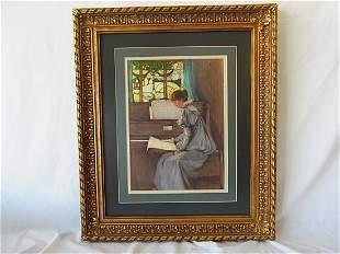 Orig Ethel Kirkpatrick Watercolor Painting Woman at Pia
