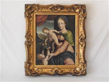 Madonna & Child with Infant St. John Northern Renaissan