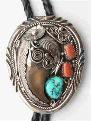 Native American Navajo Bear Claw Sterling Silver Turquo
