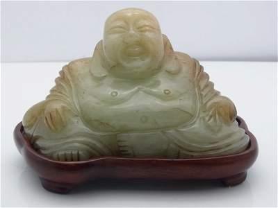 Old Chinese or Japanese Carved Jadeite Jade Maitreya Sm