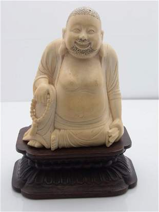 Antique Carved Ivory Chinese Japanese or Indian Buddha