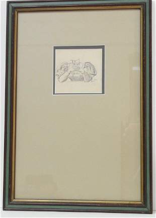 Antique Late 1800s Original Signed Drawing FLM Monogram