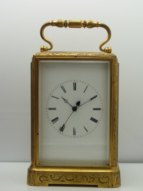Antique French Brass Ornately Engraved Carriage Clock