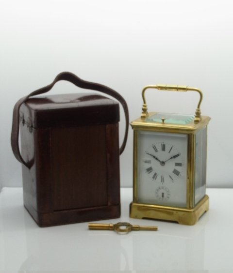 Rare Antique French Brass Carriage Clock with Fantastic