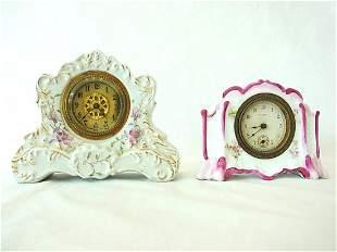 Pr Small Antique Gilt & Floral Porcelain Clocks Mantle