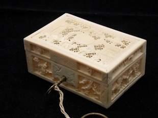 Fine & Delicate Reticulated Ivory Jewelry Trinket Box w