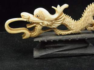 """Old Exciting 6"""" long Carved Ivory Dragon Reticulated De"""