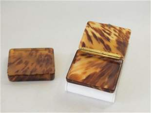 Matching Pair Pre Ban c 1950 Carved Tortoise Shell Lidd