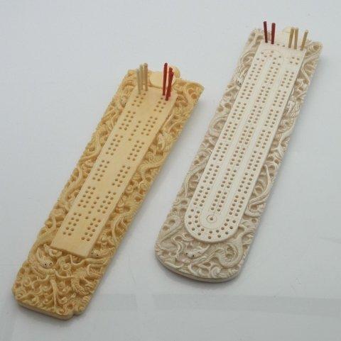 Pair Hand Carved Ivory Cribbage Board Dragon Motif Japa
