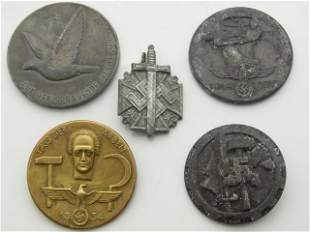 Nazi Germany SS Third Reich Group of 5 WWII Pins Medals