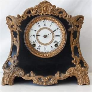 Ansonia Antique Black with Gold Tone Trim Mantel Clock