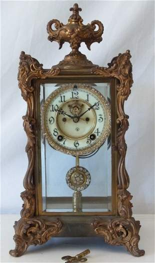 Ansonia Antique Tall Rhinestone Running Mantel Clock wi