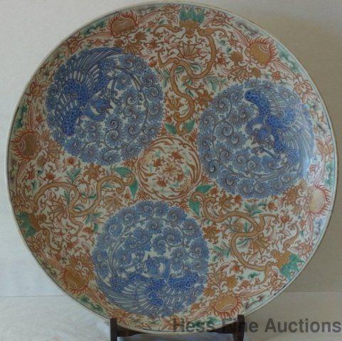 Antique Huge Imari 1800s Porcelain Charger Platter Phoe