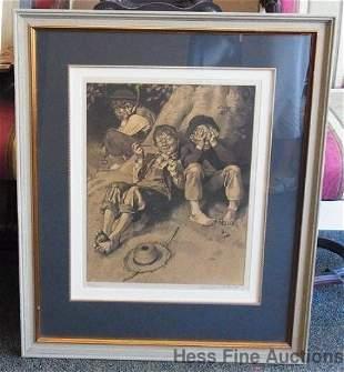 Norman Rockwell Signed Tom Sawyer Huckleberry Finn Firs