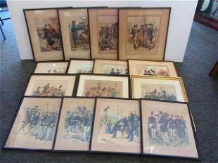 Lot of 15 Henry Alexander Ogden Militarty Subject Litho