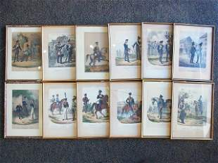 12 Antique 19C Sachse & Co. Berlin Prussian Army Prints