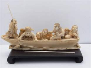 Large Signed Antique Japanese Ivory Meiji Five Figure O