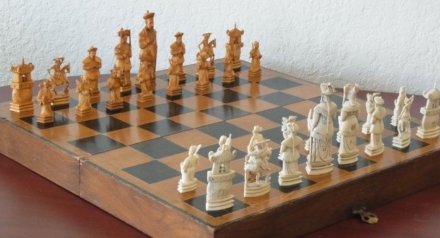 Massive 26 X 26 Inch Carved Ivory Complete Chess Set As