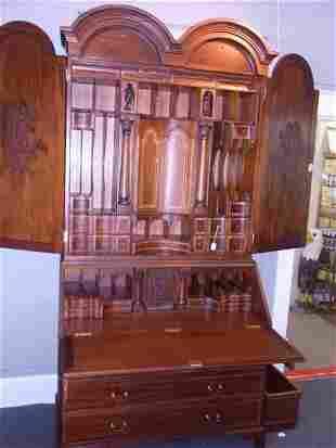 Stunning Secretary Massive Vintage Inlay Applied Wood M