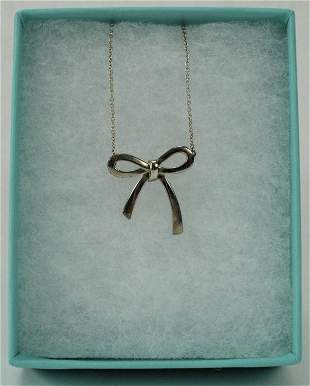 Tiffany & Co Sterling Silver Bow Pendant on Chain