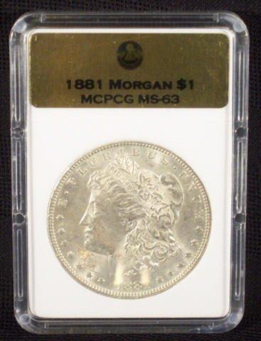 5: 1881 Silver Morgan Dollar MCPCG Graded MS63