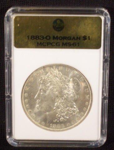 5B: 1883O Silver Morgan Dollar MCPCG Graded MS61
