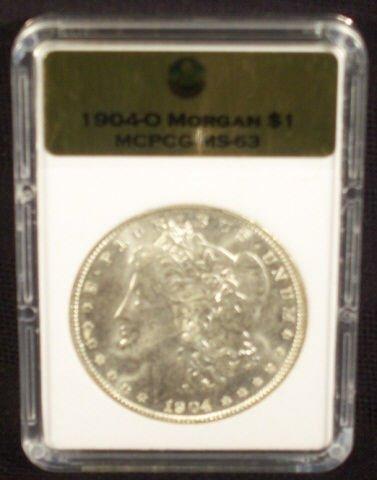 6A: 1904O Silver Morgan Dollar MCPCG Graded MS63