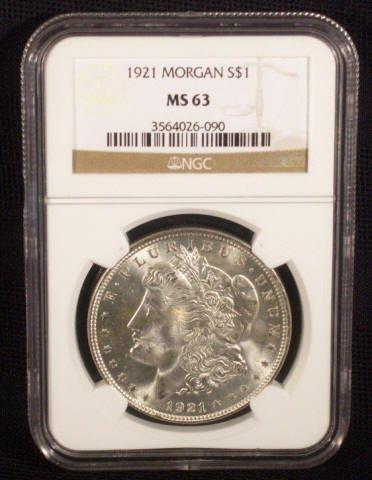 7: 1921 Silver Morgan Dollar NGC Graded MS63