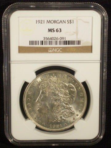 7A: 1921 Silver Morgan Dollar NGC Graded MS63