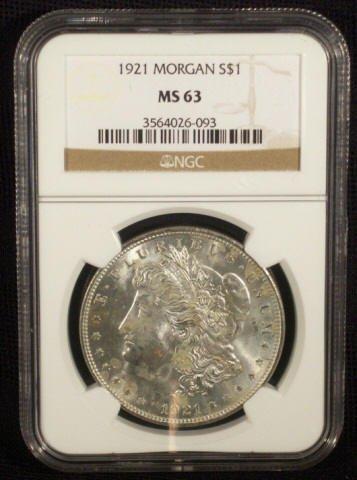8: 1921 Silver Morgan Dollar NGC Graded MS63