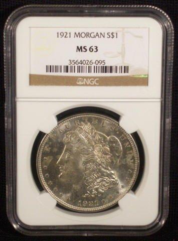 8A: 1921 Silver Morgan Dollar NGC Graded MS63