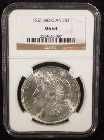 9: 1921 Silver Morgan Dollar NGC Graded MS63