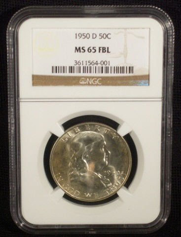 28: 1950D Franklin Half Dollar NGC Graded MS65 FBL