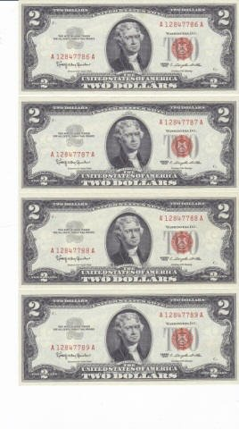 330: 9 - 1963 Two Dollar Bill Red Notes
