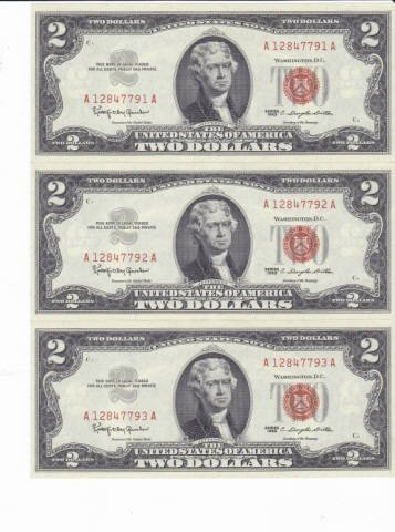 330: 9 - 1963 Two Dollar Bill Red Notes - 3