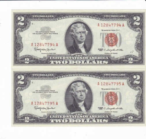 330: 9 - 1963 Two Dollar Bill Red Notes - 5